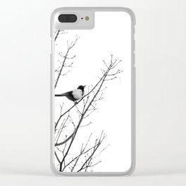 Magpie in the trees Clear iPhone Case