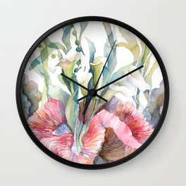 White Calla Lily and Corals Seaweed Watercolor Surreal Botanical Underwater Wall Clock