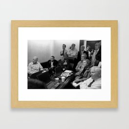 Obama In White House Situation Room Framed Art Print