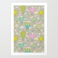 hot air balloons Art Prints featuring Hot air balloons by Anna Alekseeva kostolom3000