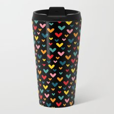Happy Hearts on Black Metal Travel Mug