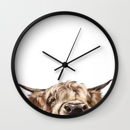 Peeking Highland Cow Wall Clock