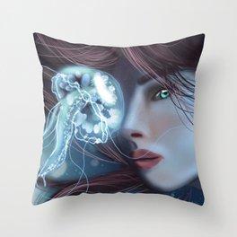 JellyFish Portrait Throw Pillow
