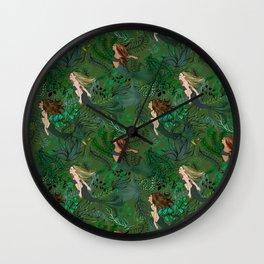 Mermaids in an Underwater Garden Wall Clock