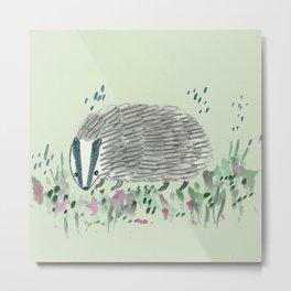 Badger in Grass Metal Print