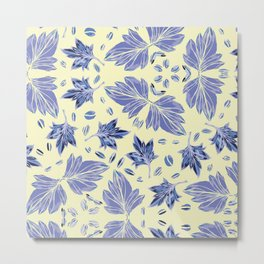Autumn leaves in light yellow and blue Metal Print