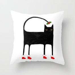 Meowy Funky Catmas Cat Throw Pillow