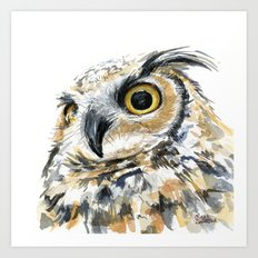Owl Great Horned Bird of Prey Owls Animals Bird Wildlife Art Print