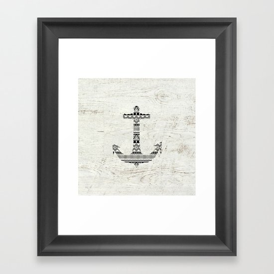 Aztec Nautical Anchor Black White Vintage Wood Framed Art Print
