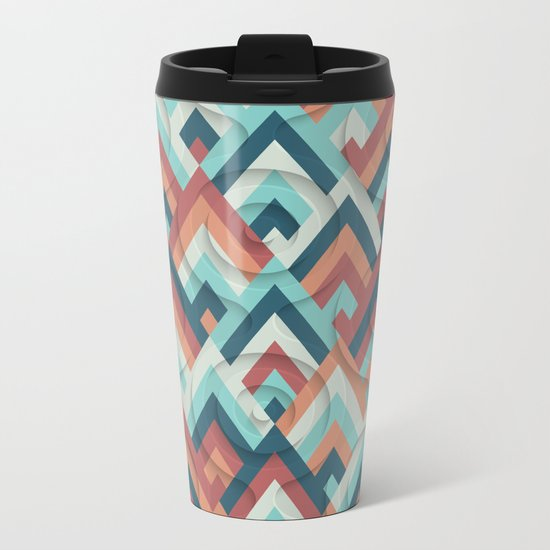 geometric vintage 70s Metal Travel Mug