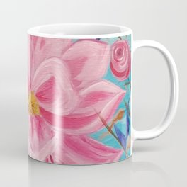 Pink and Wild, Pink Lily, Pink Flower, Pink and Blue Floral Art Coffee Mug