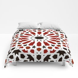 Red Geometric Moroccan Traditional Tiles Artwork. Comforters