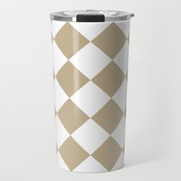 Large Diamonds - White and Khaki Brown Travel Mug