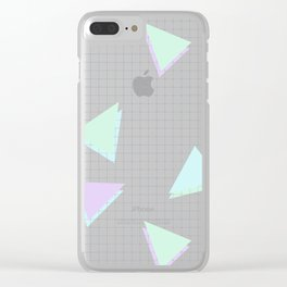 Cool-Color Pastel Triangles on Grid Clear iPhone Case