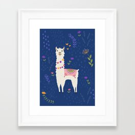 Llama on Blue Framed Art Print