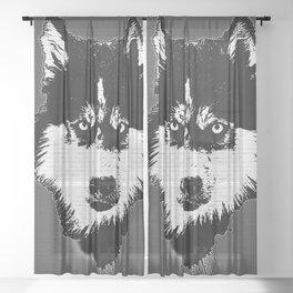 husky dog face grafiti spray art Sheer Curtain