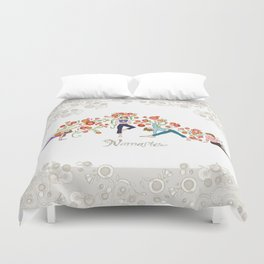 Yoga Girls_Namaste_Poses and Flowers Large scale Duvet Cover