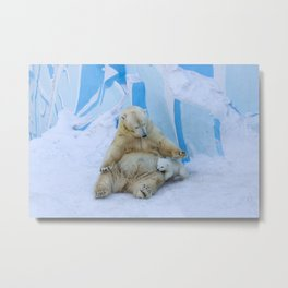 Polar bear with cub. Mother love. Metal Print