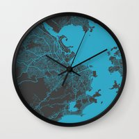 rio Wall Clocks featuring Rio by Map Map Maps