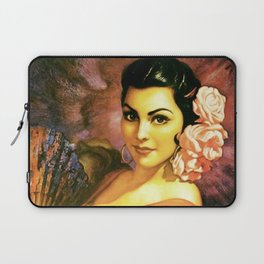Jesus Helguera Painting of a Mexican Calendar Girl with Fan Laptop Sleeve