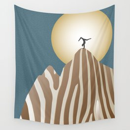 Moonlight Yoga over the Zebra Mountain Wall Tapestry