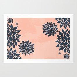 Blue Dahlias on Peach Art Print