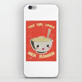 This Girl Loves Her Ramen Japanese Noodles Lover Vintage Retro iPhone Skin