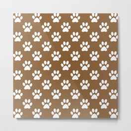 White paws on brown Metal Print
