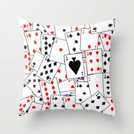 Random Playing Card Background Throw Pillow