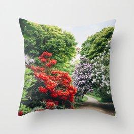 Path through Rhododendron trees. Norfolk, UK. Throw Pillow