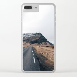 Road to nowhere in Iceland Clear iPhone Case