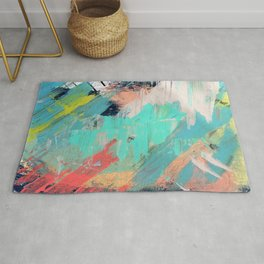 What a rush - a bright mixed media piece Rug