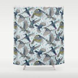 hum sun honey birds blue Shower Curtain