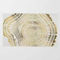 metallic Area & Throw Rugs featuring Gold Tree Rings by Cat Coquillette