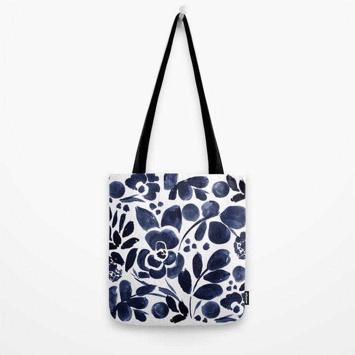 Navy Floral Tote Bag