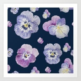 Watercolor Pansy Pattern (Navy Background) Art Print
