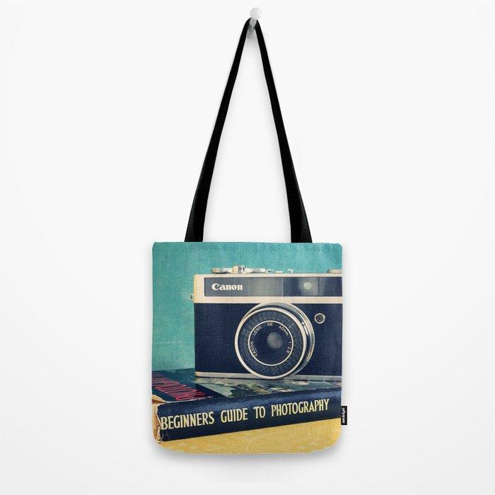 Vintage camera art, photography still life. Tote Bag
