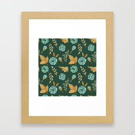 Watercolor floral turqiouse roses print Framed Art Print