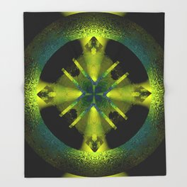 Spinning Wheel Hubcap in Lime Green Throw Blanket