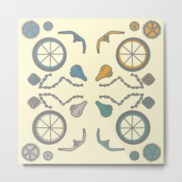 Bicycle Parts Deconstructed in Muted Colors Metal Print