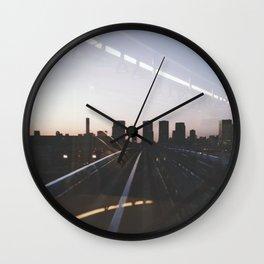 Sunset Train to Tokyo // Odaiba Metro Vintage Shot Wall Clock