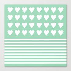 Heart Stripes Mint Canvas Print