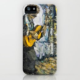 street musician palying on guitar iPhone Case