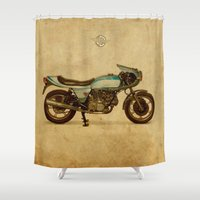 ducati Shower Curtains featuring Ducati 900SS Darmah 1979 by Larsson Stevensem
