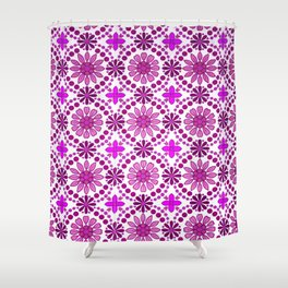 Magenta pink white abstract geometrical floral Shower Curtain