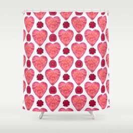 Hearts and Flowers for Valentine's Day Shower Curtain