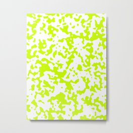 Spots - White and Fluorescent Yellow Metal Print