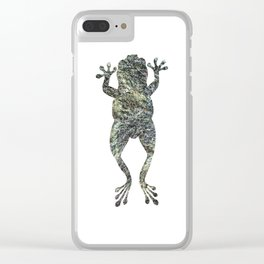 green lichen leaping frog silhouette Clear iPhone Case