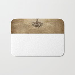 Vintage Tree of Life with Flag of Brazil Bath Mat