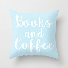 Books and Coffee - Blue Throw Pillow